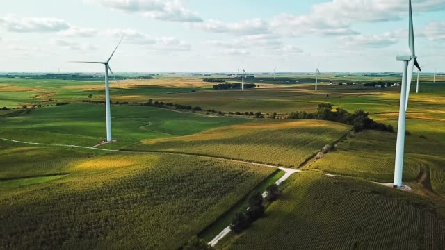 wind turbine landscape aerial view