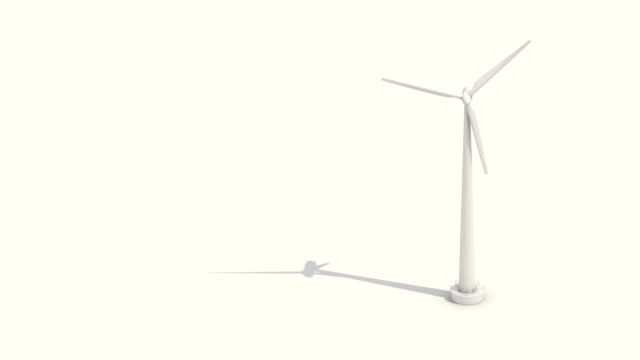Wind turbine on white background. eco energy.presentation(included alpha) video
