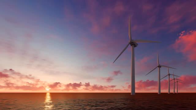 Wind turbine power generators on the sea video