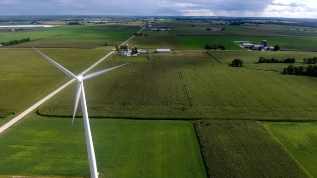 Wind Turbine rotating in the beautiful countryside video