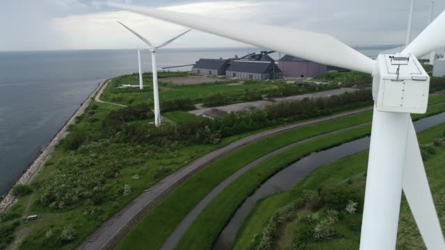 Wind turbine seen from behind video