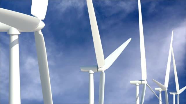 Wind turbines against cloudscape