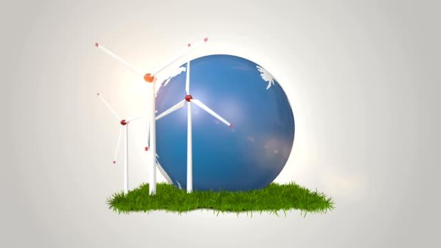 Wind Turbines And Globe - Alternative Energy video