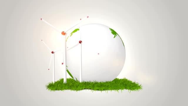 windturbinen und green globe-alternative energien - verantwortung stock-videos und b-roll-filmmaterial