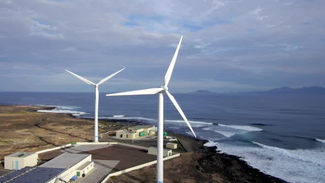 AERIAL: Wind turbines at seaside video