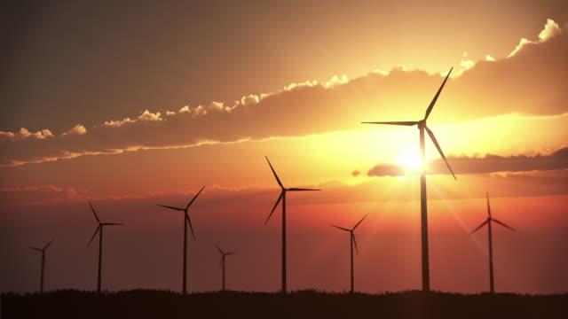 Wind Turbines at Sunset | Loopable