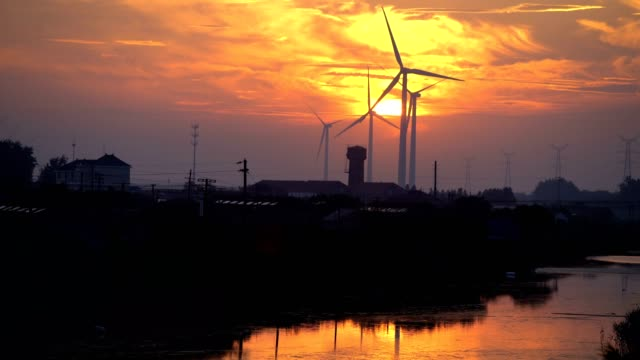Wind Turbines at sunset video