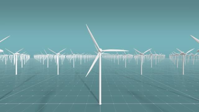 3D wind turbines CG wind farm video