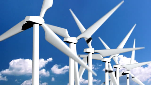 Wind turbines close up with clouds in the background video