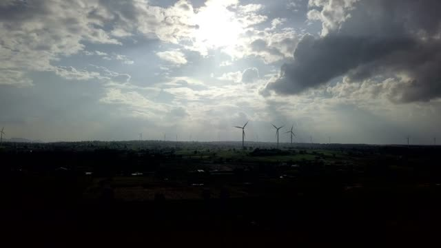 Wind turbines generating electricity. energy conservation conceptv video