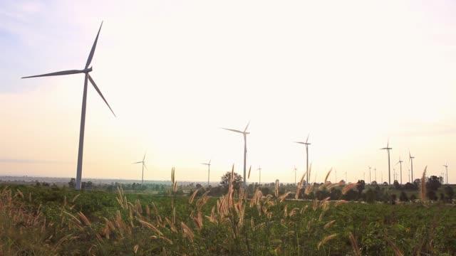 rüzgar türbinleri gündoğumu alanında. - start stok videoları ve detay görüntü çekimi