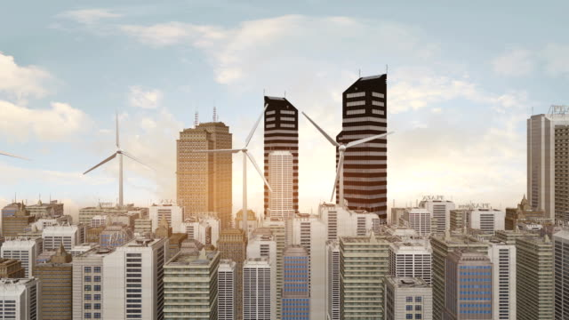 Windturbinen In der futuristischen Stadt – Video