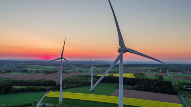 AERIAL: Wind Turbines - Landscape in Twilight video