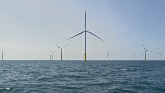 AERIAL Wind turbines rotating at sea