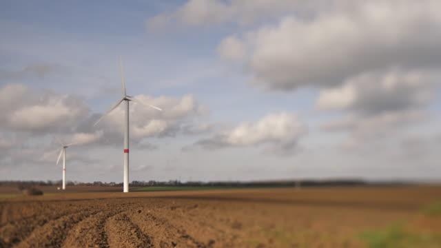 wind turbines tilt-shift - belgio video stock e b–roll