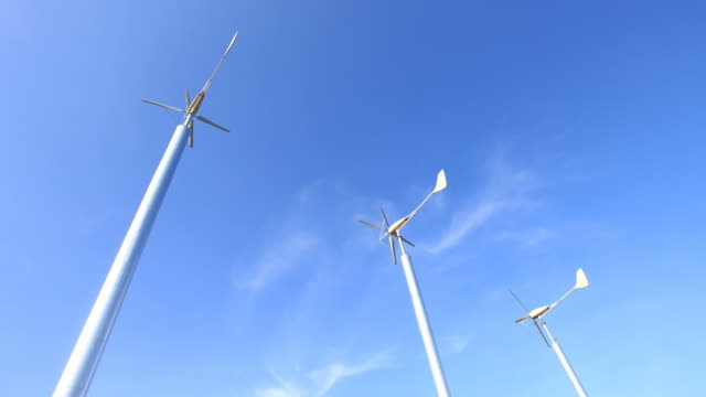 Wind turbines with Cloudscape , green energy video