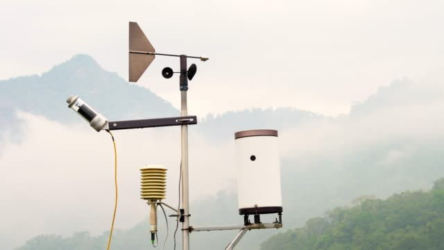 Wind Vane And Anemometer With Fog Forest Background
