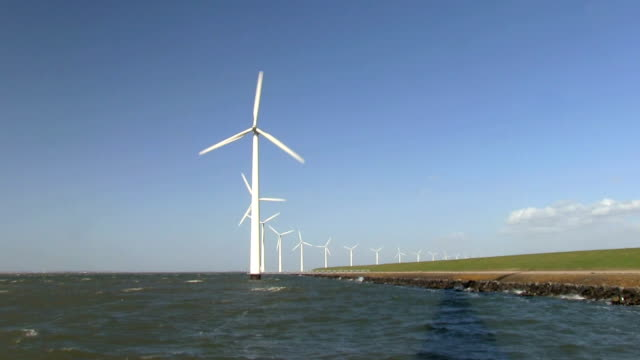 Windfarm in the water producing alternative energy video