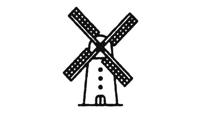 Windmill Icon Animation Footage & Alpha Channel