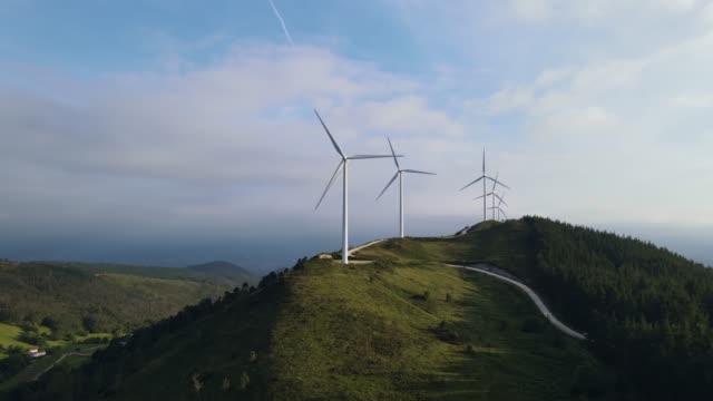 Windmill park close to Avilés, Asturias. Renewable energy.