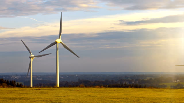 Windmill / Wind power technology - Aerial drone view on Wind Power park video