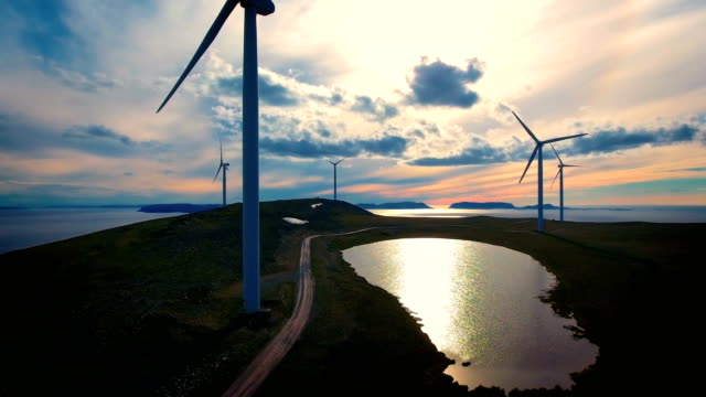 windmills for electric power production havoygavelen windmill park norway - энергия ветра стоковые видео и кадры b-roll
