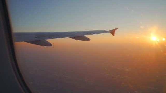 окно самолета время поездки на закате - крыло животного стоковые видео и кадры b-roll