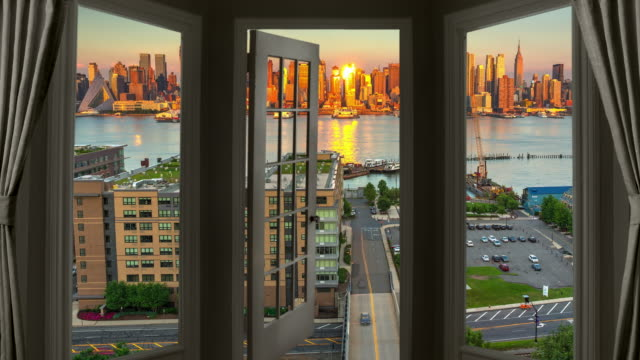 Window view New York Manhattan time lapse cityscape skyscraper dusk Time-lapse photography is a technique whereby the frequency at which film frames are captured (the frame rate) is much lower than that used to view the sequence. When played at normal speed, time appears to be moving faster and thus lapsing. high dynamic range imaging stock videos & royalty-free footage