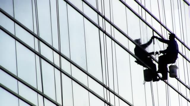 Window washer silhouette HD video