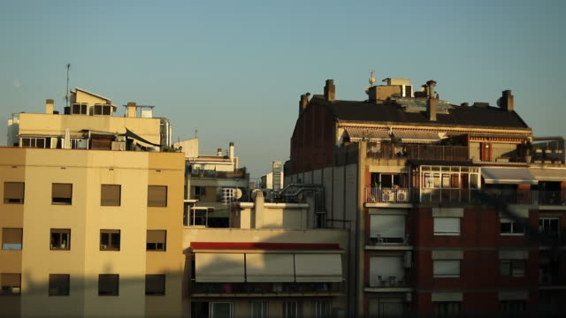 windows and balconies from barcelona. time lapse - balcone video stock e b–roll