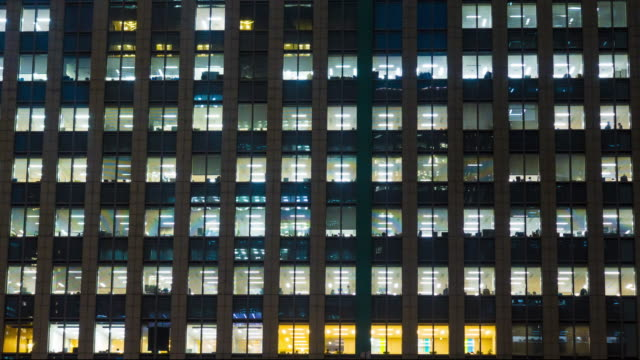 Windows in Skyscrapers International Business Center City at night timelapse video