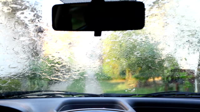 Windshield wipers at rainy weather video