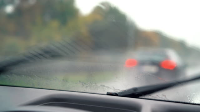 Windshield wipers on a rainy day video