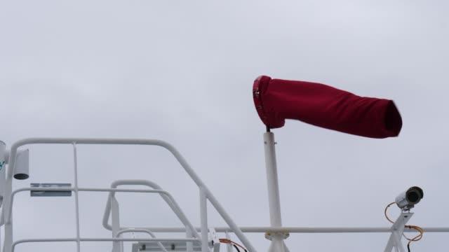 windsock air sock sleeve on ship - rękaw filmów i materiałów b-roll