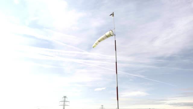 Windsock in wind, meteorology wind sock video