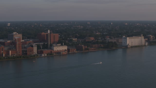 Windsor Canada Waterfront Aerial Aerial shot of the Windsor Canada waterfront across from Detroit, Michigan. ontario canada stock videos & royalty-free footage
