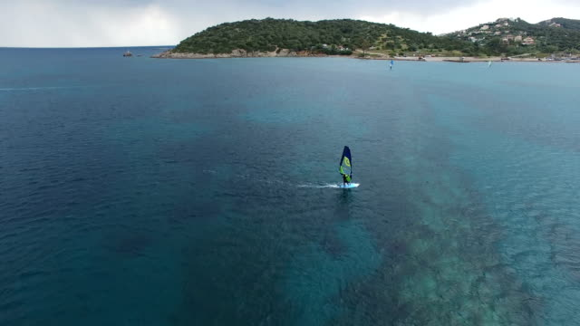 Windsurfer on the Calm Sea Surface video