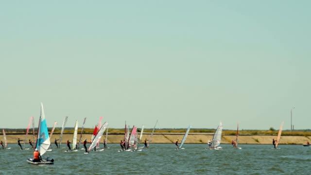 windsurfers in the river - campionato video stock e b–roll