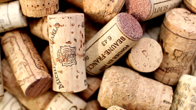 Wine and champagne corks rotate video
