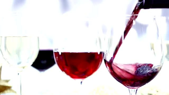 Wine being poured in slow motion video