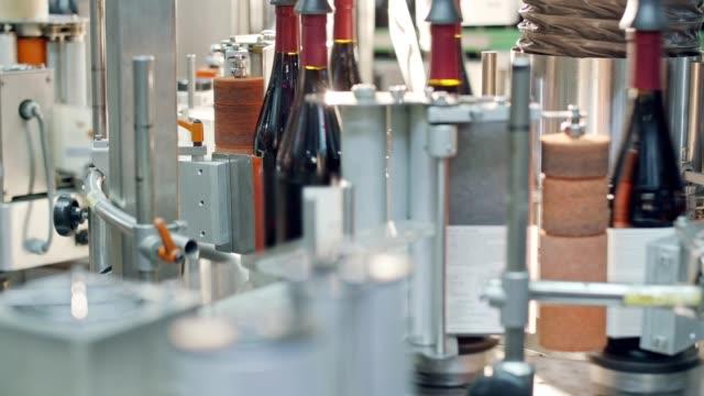 Wine bottle production line. Filling of bottles. Production of glass wine bottles. video