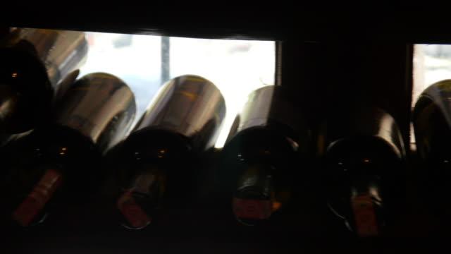 Wine bottle shelf in store, Sirince, Izmir, Turkey video