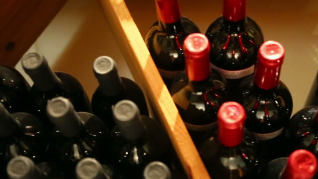 Wine bottles in storage video