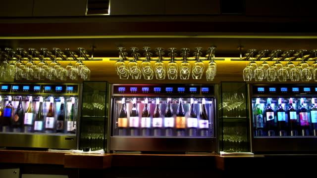 wine cooler in restaurant video