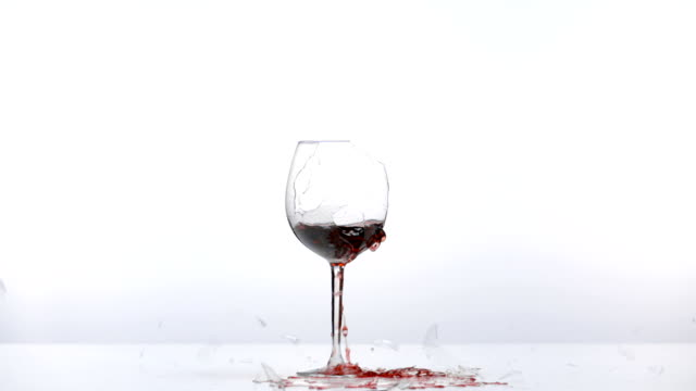 Wine glass breaks video