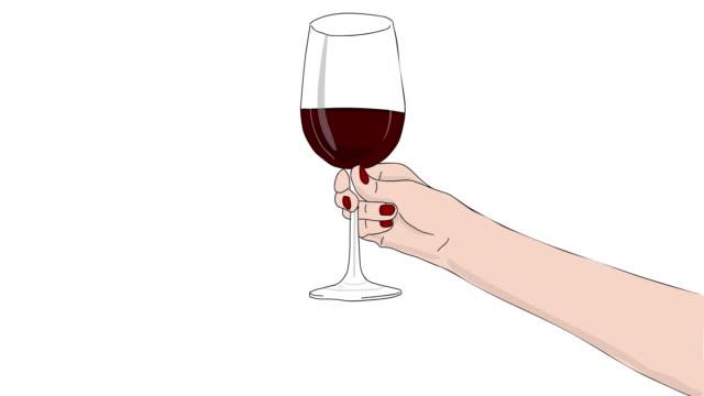 ワイングラストーストアニメーション - ぶどう イラスト点の映像素材/bロール