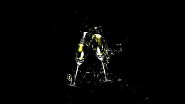 Wine Glasses Toasting with alpha channel. HD1080. video