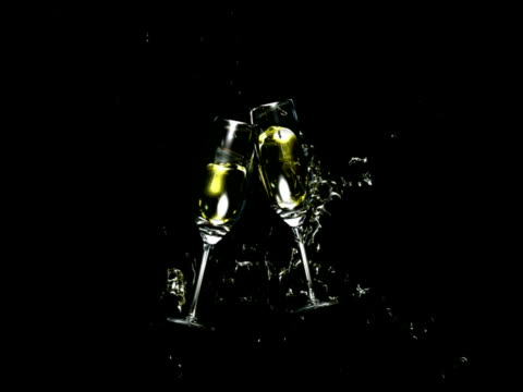 Wine glasses toasting with alpha channel PAL video