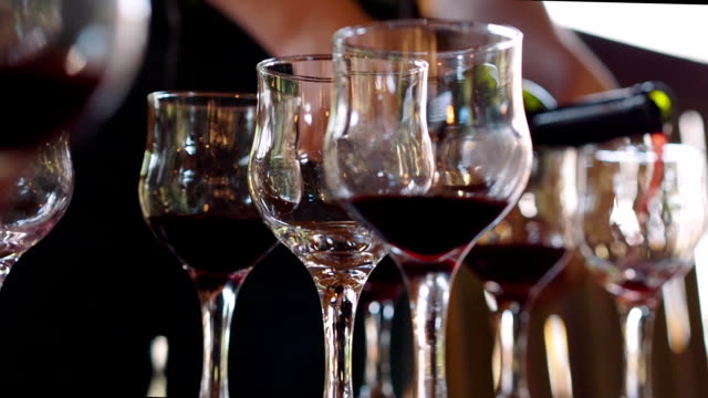 Wine is poured for a people at a wine tasting. video