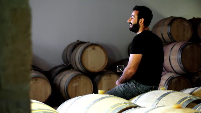 A wine maker in a wine cellar tasting a new batch of wine video